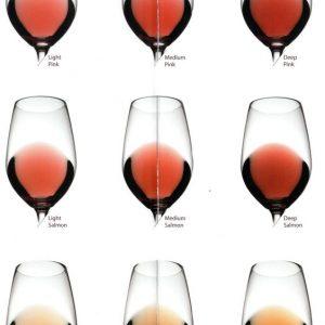 Diferentes colores del vino rosado